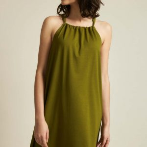 jurk olijf groen mouwloos